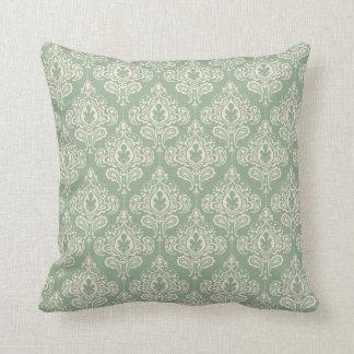 Vintage Damask - Sage Green Throw Pillow