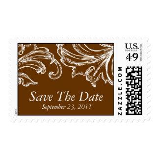Vintage Damask Save the Date Postage Stamp Brown