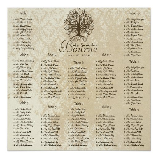 Vintage Damask Seating Chart 12 Tables Posters