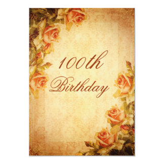 Vintage Damask Shabby Chic Peach Roses 100th Card
