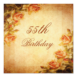 Vintage Damask Shabby Chic Peach Roses 55th Custom Announcements