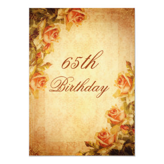 Vintage Damask Shabby Chic Peach Roses 65th Card