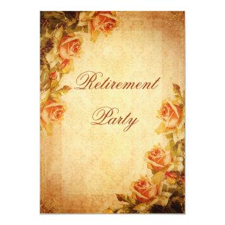 Vintage Damask Shabby Chic Peach Roses Retirement Custom Announcements