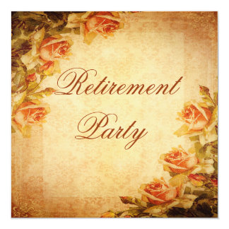 Vintage Damask Shabby Chic Peach Roses Retirement Personalized Announcement