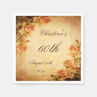 Vintage Damask Shabby Chic Peach Roses Serviettes Paper Napkins