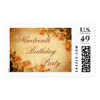 Vintage Damask Shabby Peach Roses 19th Birthday Stamps