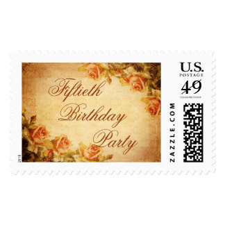 Vintage Damask Shabby Peach Roses 50th Birthday Stamp