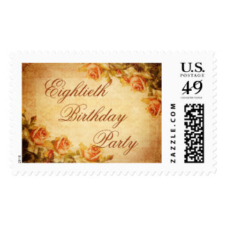 Vintage Damask Shabby Peach Roses 80th Birthday Postage Stamp