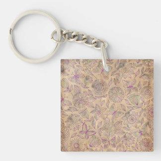 Vintage Damask Single-Sided Square Acrylic Keychain