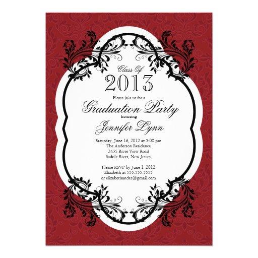 Vintage Damask Stylish Red Graduation Party Invites