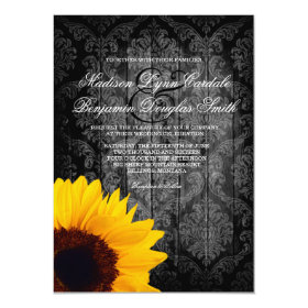 Vintage Damask Sunflower Rustic Wedding Invitation
