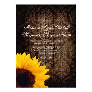 Vintage Damask Sunflower Rustic Wedding Invitation