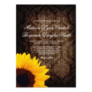 "Vintage Damask Sunflower Rustic Wedding Invitation 4.5"" X 6.25"" Invitation Card"
