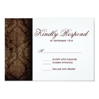 """Vintage Damask Sunflower Rustic Wedding RSVP Cards 3.5"""" X 5"""" Invitation Card"""
