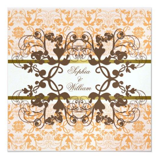 Vintage Damask Swirls Floral Lace Wedding Invite