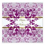 Vintage Damask Swirls Floral Lace Wedding Invite Custom Invite
