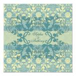 Vintage Damask Swirls Floral Lace Wedding Invite Custom Invitation