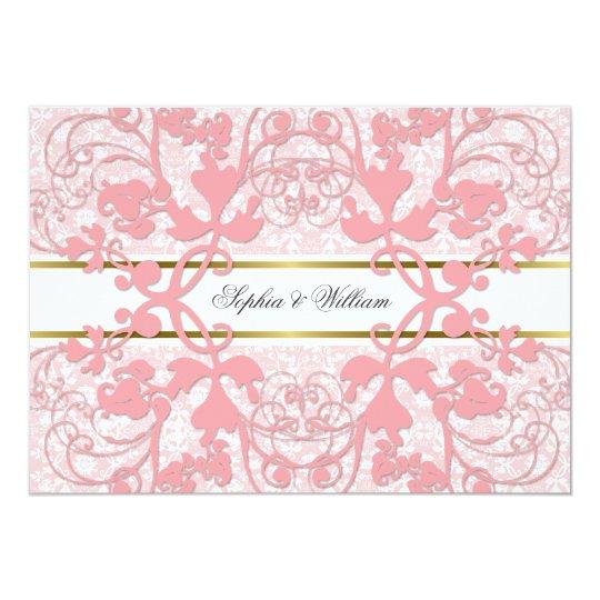Vintage Damask Swirls Lace Elegant Wedding Invite