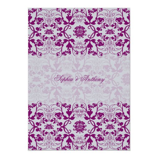 Vintage Damask Swirls Lace Orchid Wedding Invite Personalized Invite