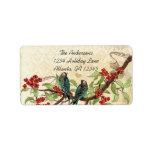 Vintage Damask Teal Bird Burgundy Flowering Branch Address Label
