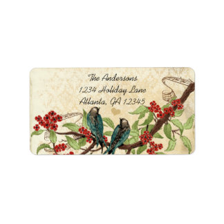 Vintage Damask Teal Bird Burgundy Flowering Branch Label