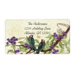 Vintage Damask Teal Bird Purple Flowering Branch Shipping Label