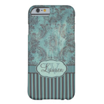 Vintage damask teal brown Monogram Barely There iPhone 6 Case