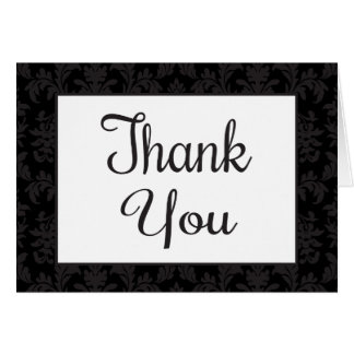 Vintage Damask Thank You Black & Gray Floral Card