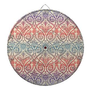 Vintage Damask Wallpaper - blue violet red Dart Board