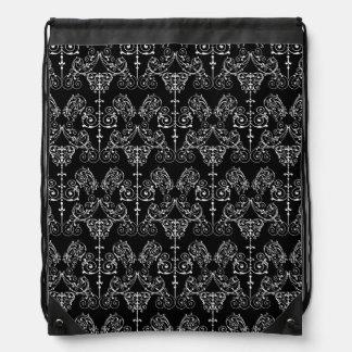 Vintage Damask Wallpaper - white + your backgr. Drawstring Bags