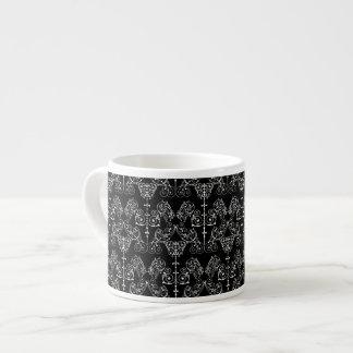 Vintage Damask Wallpaper - white + your backgr. Espresso Cups