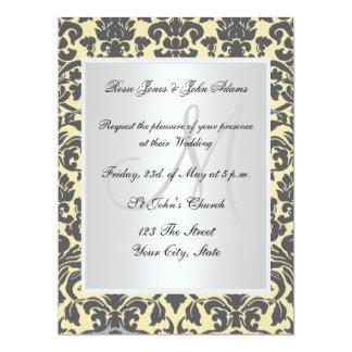 "Vintage Damask Wedding Invitation Cream and white 6.5"" X 8.75"" Invitation Card"