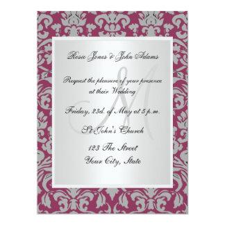 Vintage Damask Wedding Invitation Maroon and white Invitation