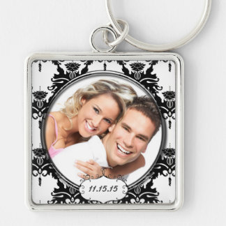 Vintage Damask Wedding Photo Key Chain