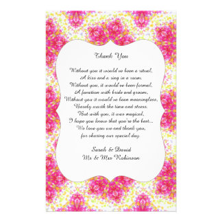 Vintage Damask Wedding Poem Thank You Favor Scroll Flyer
