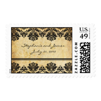 Vintage Damask Wedding Postage Stamp