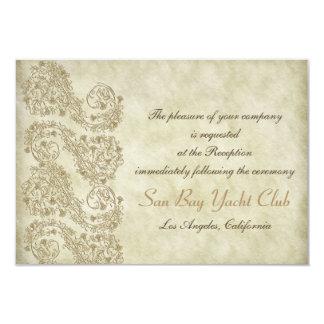 "Vintage damask Wedding Reception cards 3.5"" X 5"" Invitation Card"