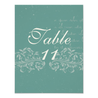 "Vintage Damask Wedding Table Numbers 4.25"" X 5.5"" Invitation Card"