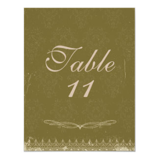 Vintage Damask Wedding Table Numbers Olive Green Card