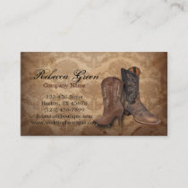 vintage damask western country cowboy business card