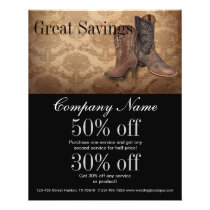 vintage damask western country cowboy flyer