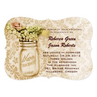 vintage damask western floral mason jar wedding personalized invitation