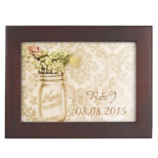 vintage damask western floral mason jar wedding keepsake boxes