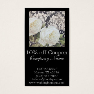 vintage damask white rose floral fashion business business card