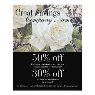 vintage damask white rose floral fashion business flyer
