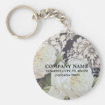 vintage damask white rose floral fashion business key chains