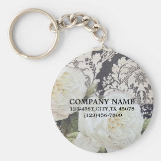 vintage damask white rose floral fashion business key chains