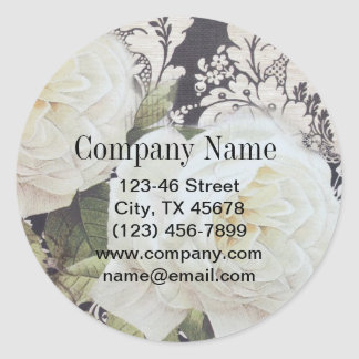 vintage damask white rose floral fashion classic round sticker