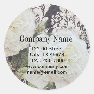 vintage damask white rose floral fashion classic round sticker