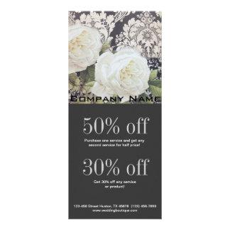 vintage damask white rose floral fashion rack card